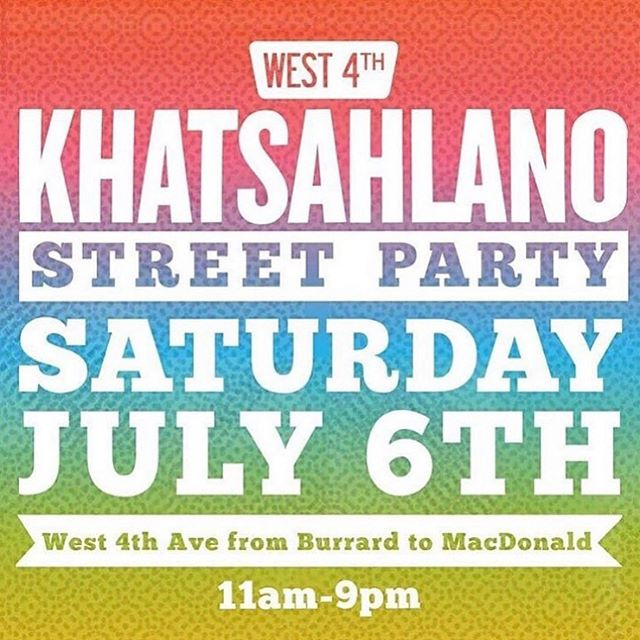So many great bands today! We play the TD stage at 4th and Burrard at 8 PM. Bring your raincoats and sun dancing shoes. 🌞🌞🌞 @khatsahlano  #yvr #hometown