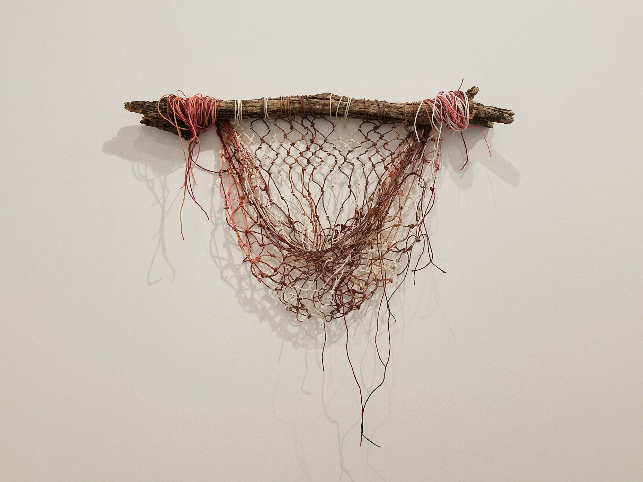 Tara Batiste,  Untitled , 2016. Stick and hemp cord. 12 x 20 inches.