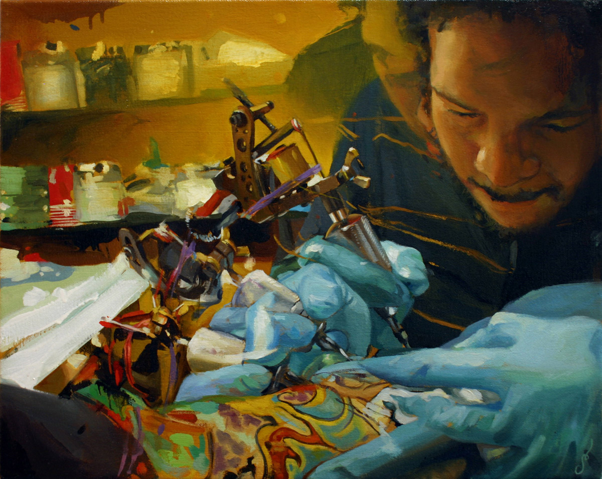 "'Henry Lewis at Work', oil on canvas, 16"" x 20"", 2005, Collection of Wesley Burt"
