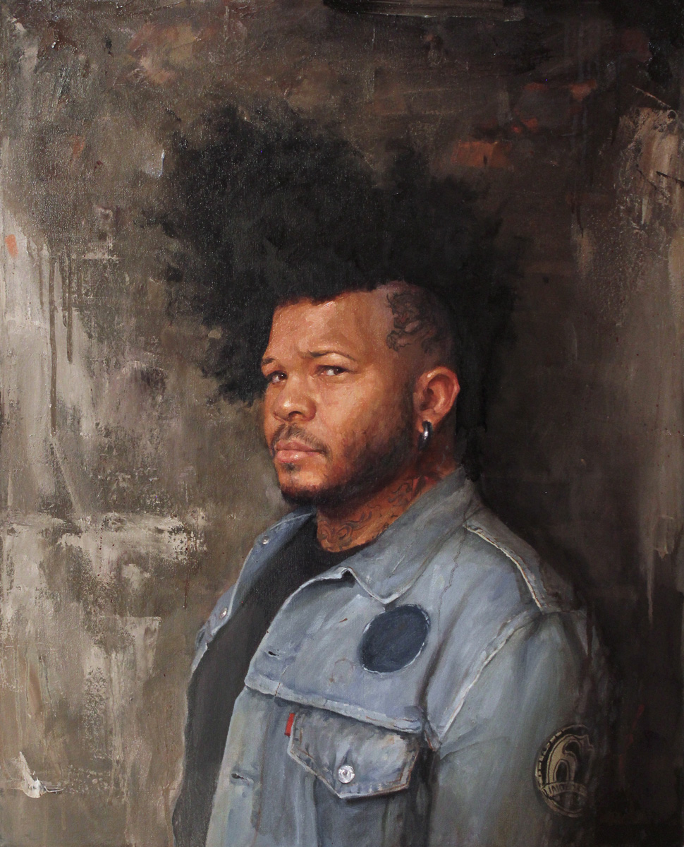 "'Portrait of the Artist, Henry Lewis, with Black Panther)', oil on canvas, 30"" x 24"", 2015-2016, Collection of Seth Ciferri"