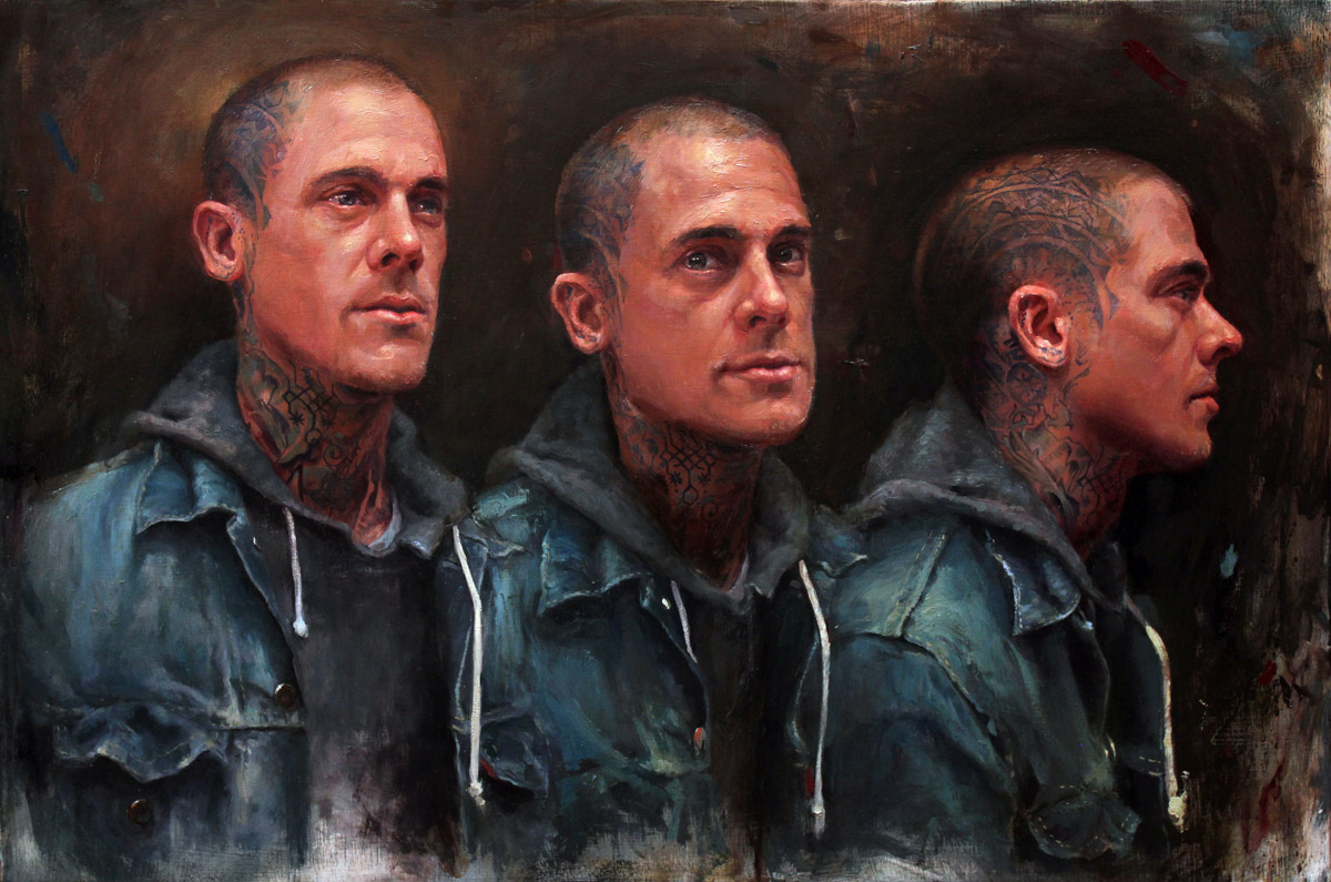 "'Portrait of the Artist, Nathan Kostechko, Triple Head Study', oil on wood, 16"" x 24"", 2014"