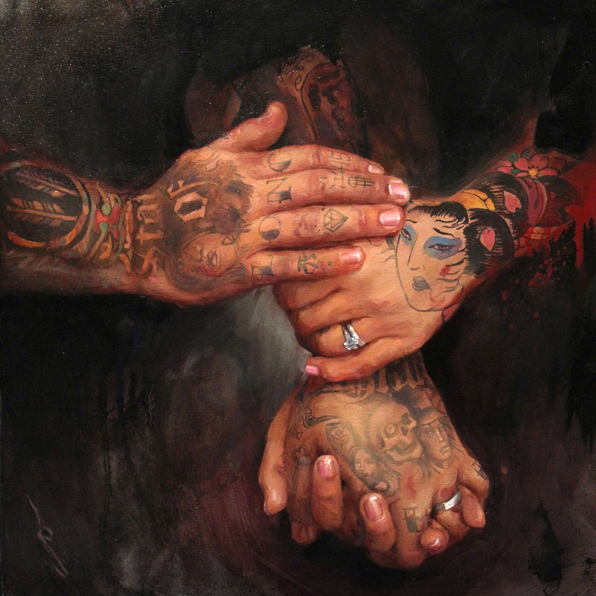 "'Taki and Molly Kitamura's Hands', oil on canvas, 20"" x 20"", 2013, Collection of The Kitamura's"