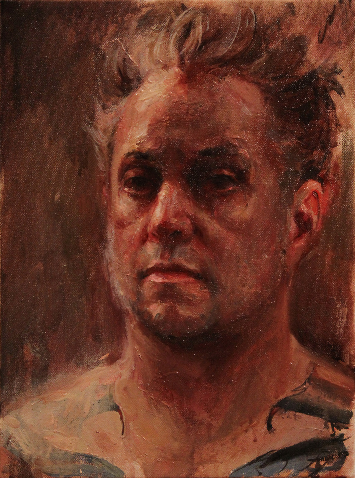 "'Self Portrait Study at 43', oil on canvas, 16""x 12"", 2014, Collection of Shreveport Regional Arts Council"