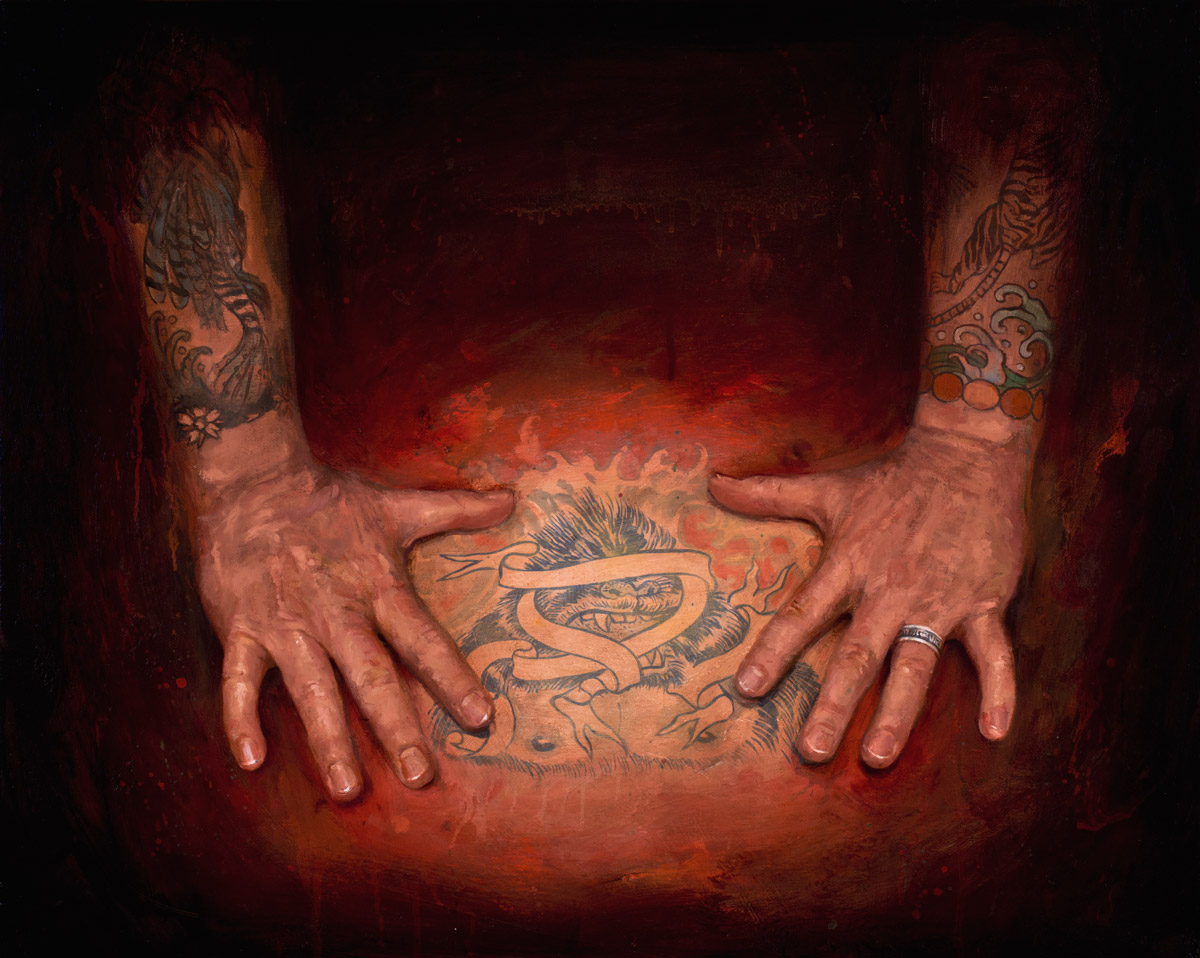 "'Don Ed Hardy Hands Study', oil on linen, 24"" x 30"", 2011-2012, Collection of Lango Oliviera"