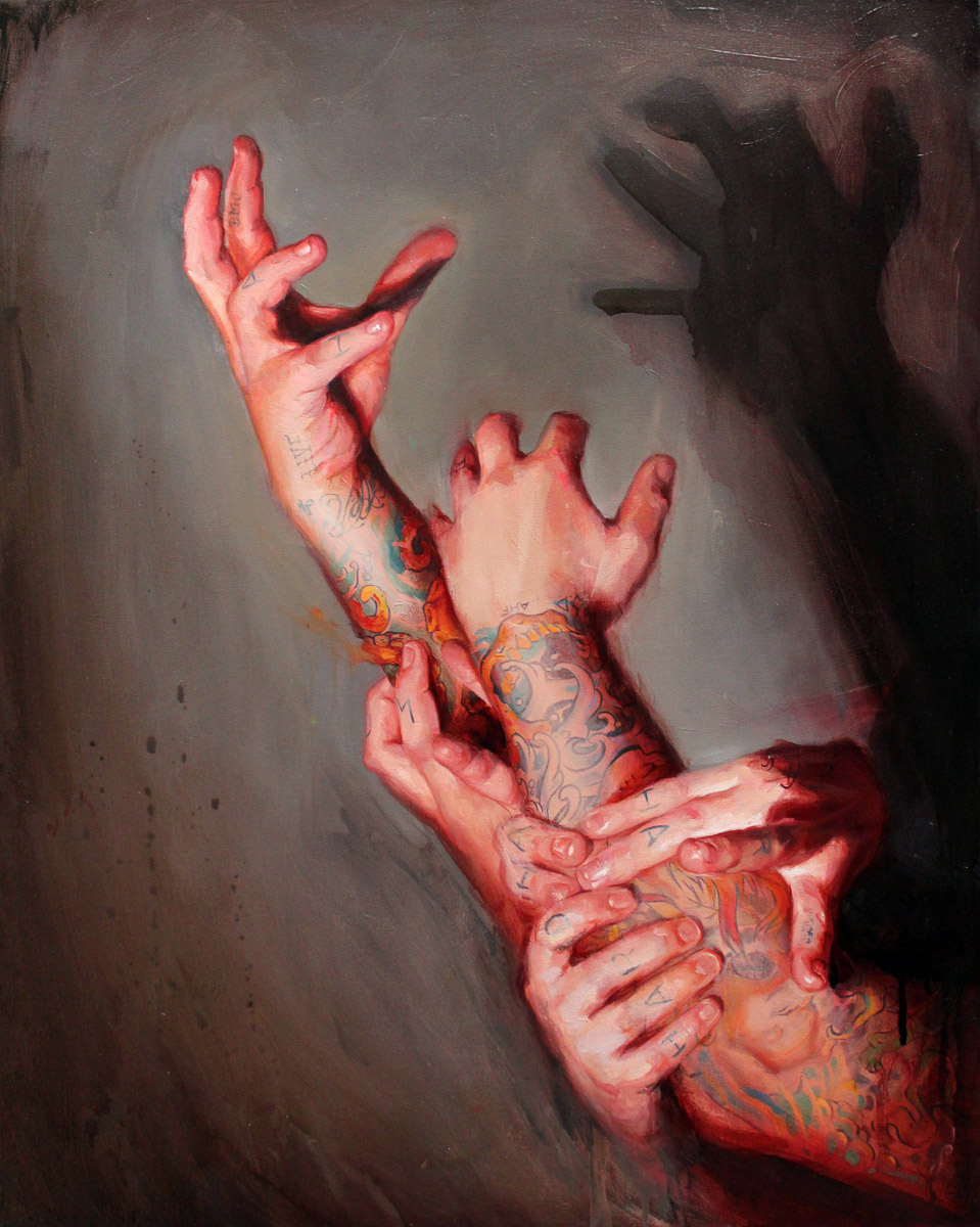 "'Tattooed Self Portrait, Multiple Hands Study', oil on canvas, 30"" x 24"", 2010, Collection of Cameron Miller"