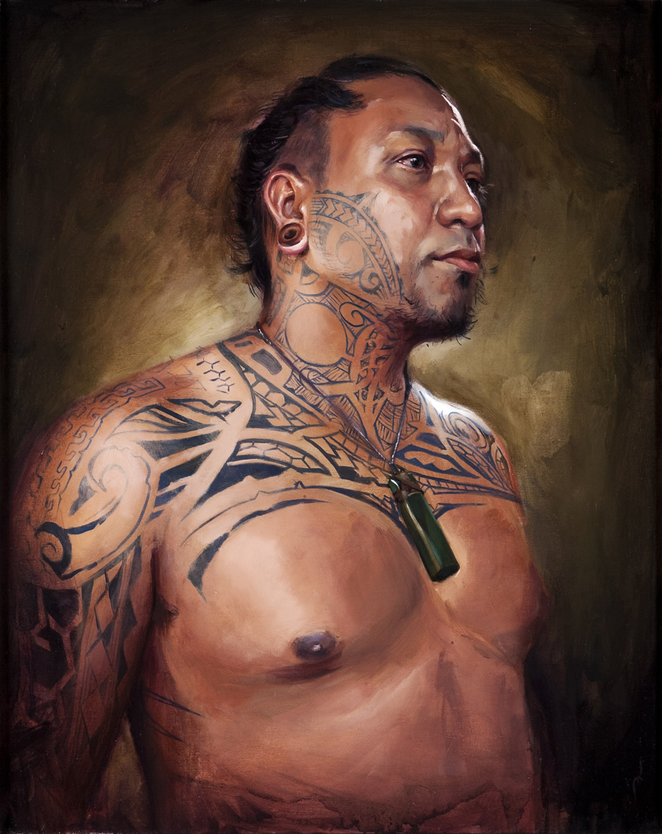 "'Portrait of the Artist, Sua Suluape Toetu'u, Aisea', oil on canvas, 30"" x 24"", 2009, Collection of Russ Abbott"