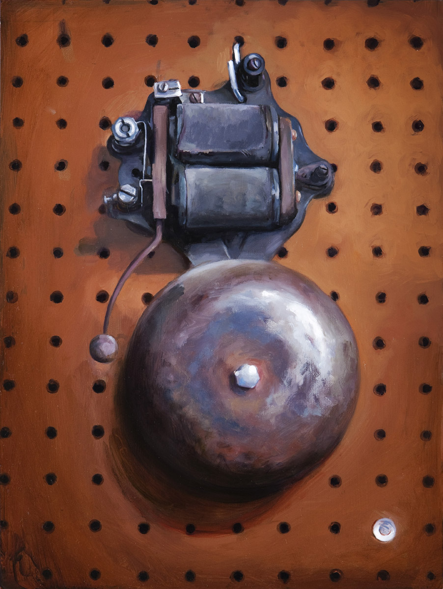"'Mike Wilson's Doorbell', oil on panel, 16"" x 12"", 2009, Collection of David Benitez"
