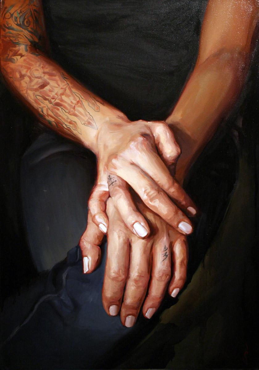 "'Kim Saigh Hands Study 1', oil on canvas, 32"" x 26"", 2008, Collection of Kim Saigh"
