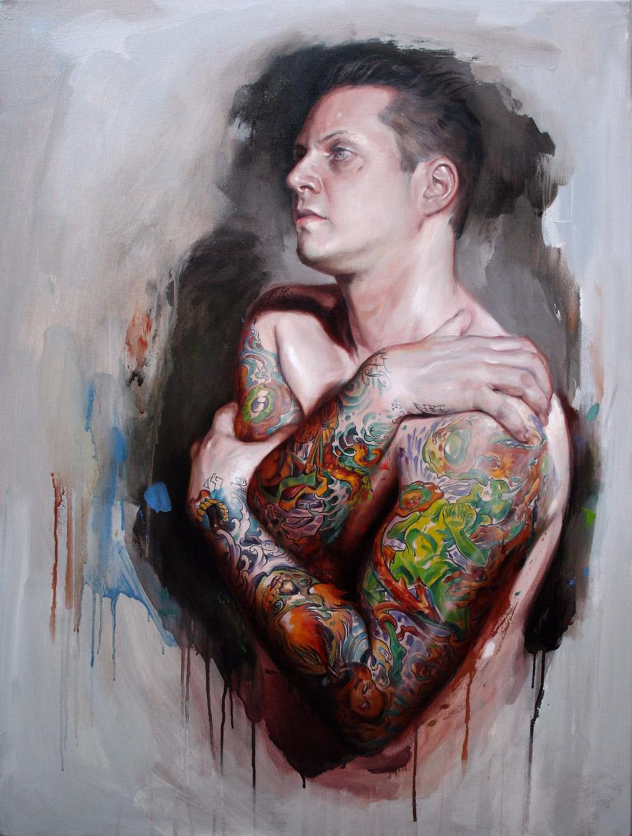 "'Tattooed Self Portrait at 38', oil on canvas, 40"" x 30"", 2008"