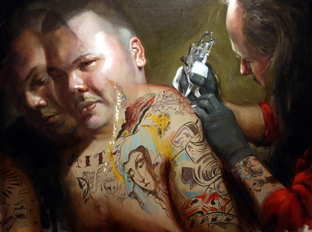 "'Mike Wilson Tattooing Bert Krak', oil on canvas, 18"" x 24"", 2007, Collection of Bert Krak"