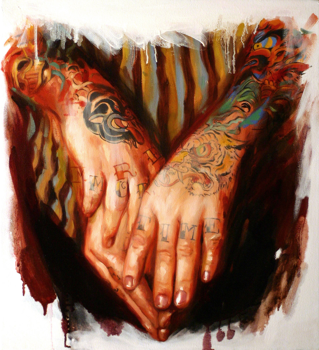 "'Jason Schroder's Hands', oil on canvas, 18"" x 18"", 2007, Collection of Jason Schroder"
