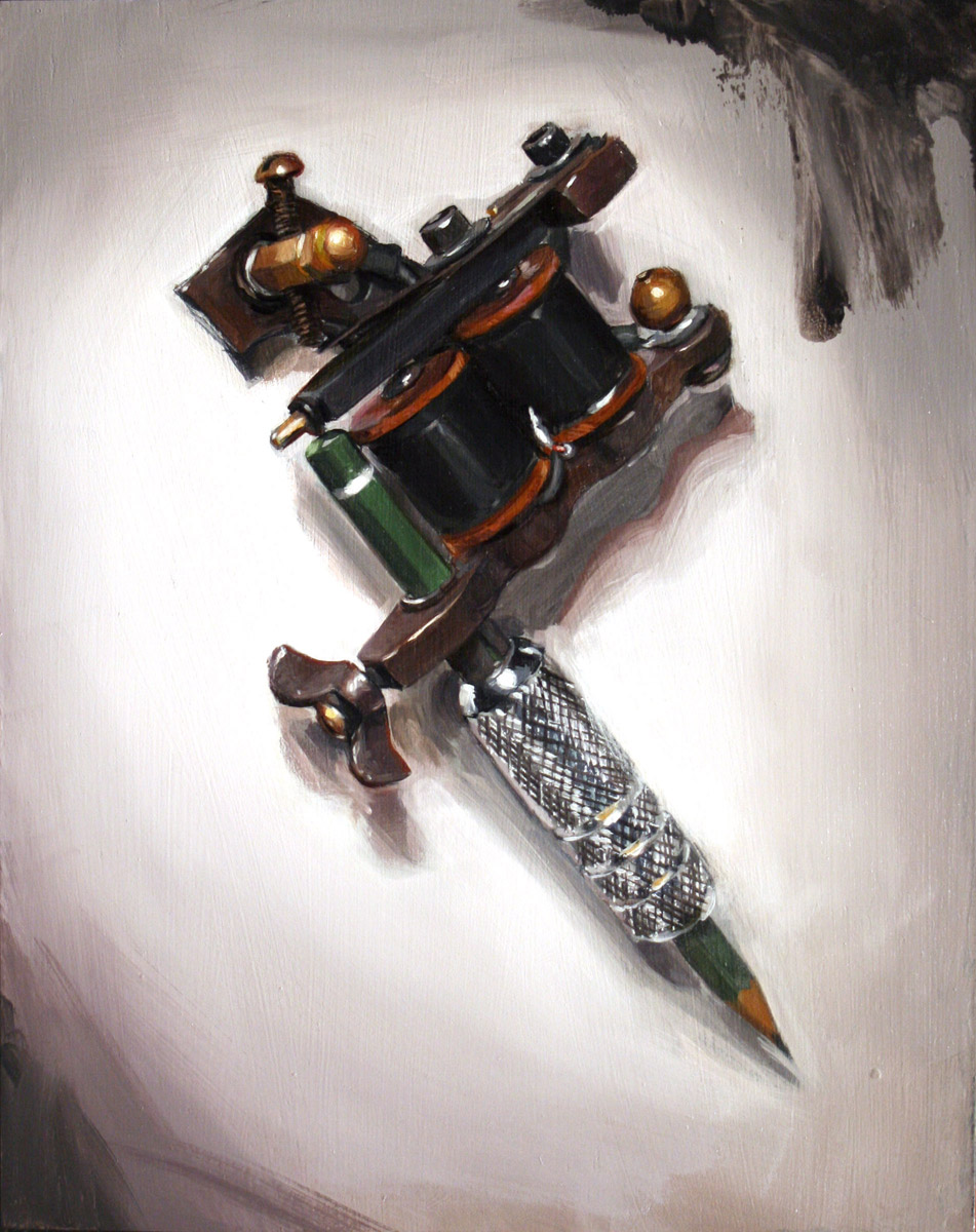 "'Practice Machine', oil on panel, 10"" x 8"", 2007, Collection of Joel Fried"