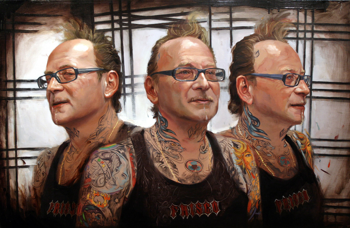 "'Portrait of the Artist, Bill Salmon, Triple Head Study', oil on panel, 22"" x 34"", 2007, Collection of Joel Fried"