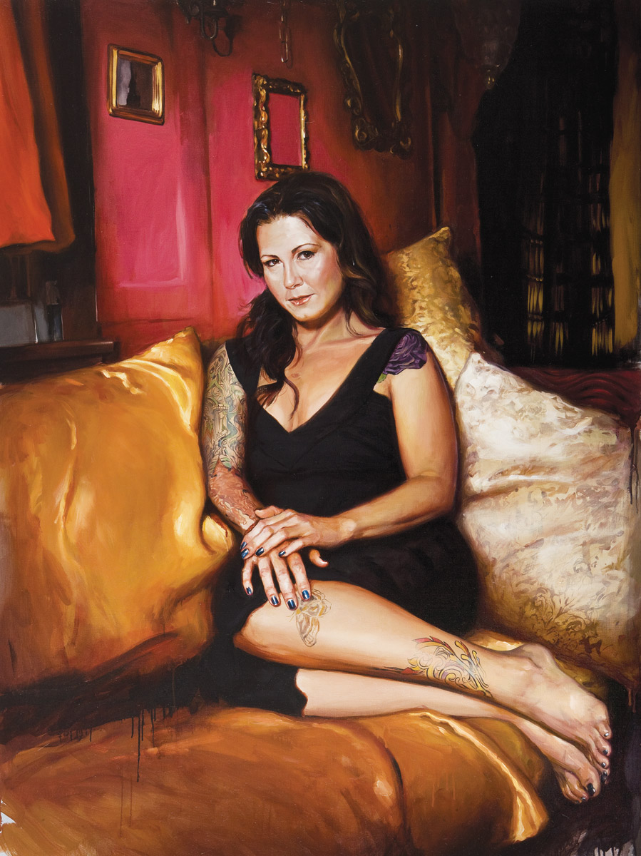 "'Portrait of the Artist, Kim Saigh', oil on linen, 60"" x 44"", 2007, Collection of Kim Saigh"