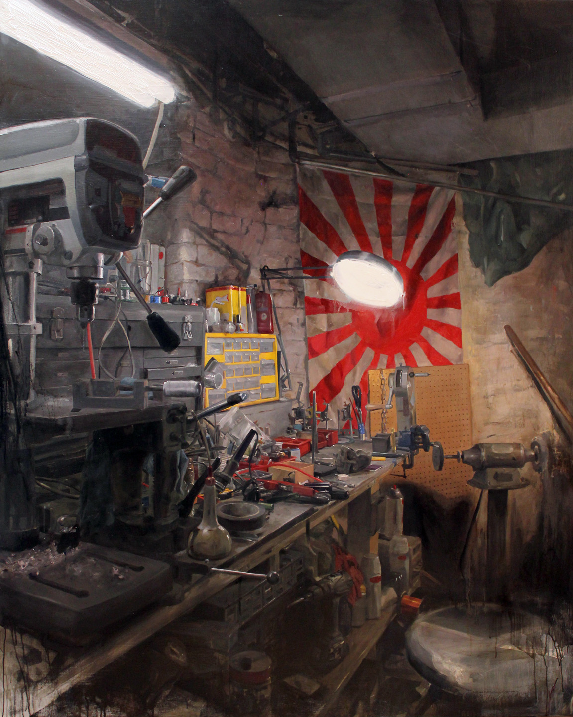 "'Jiro's Workshop Bunker', oil on panel, 60"" x 48"", 2016"