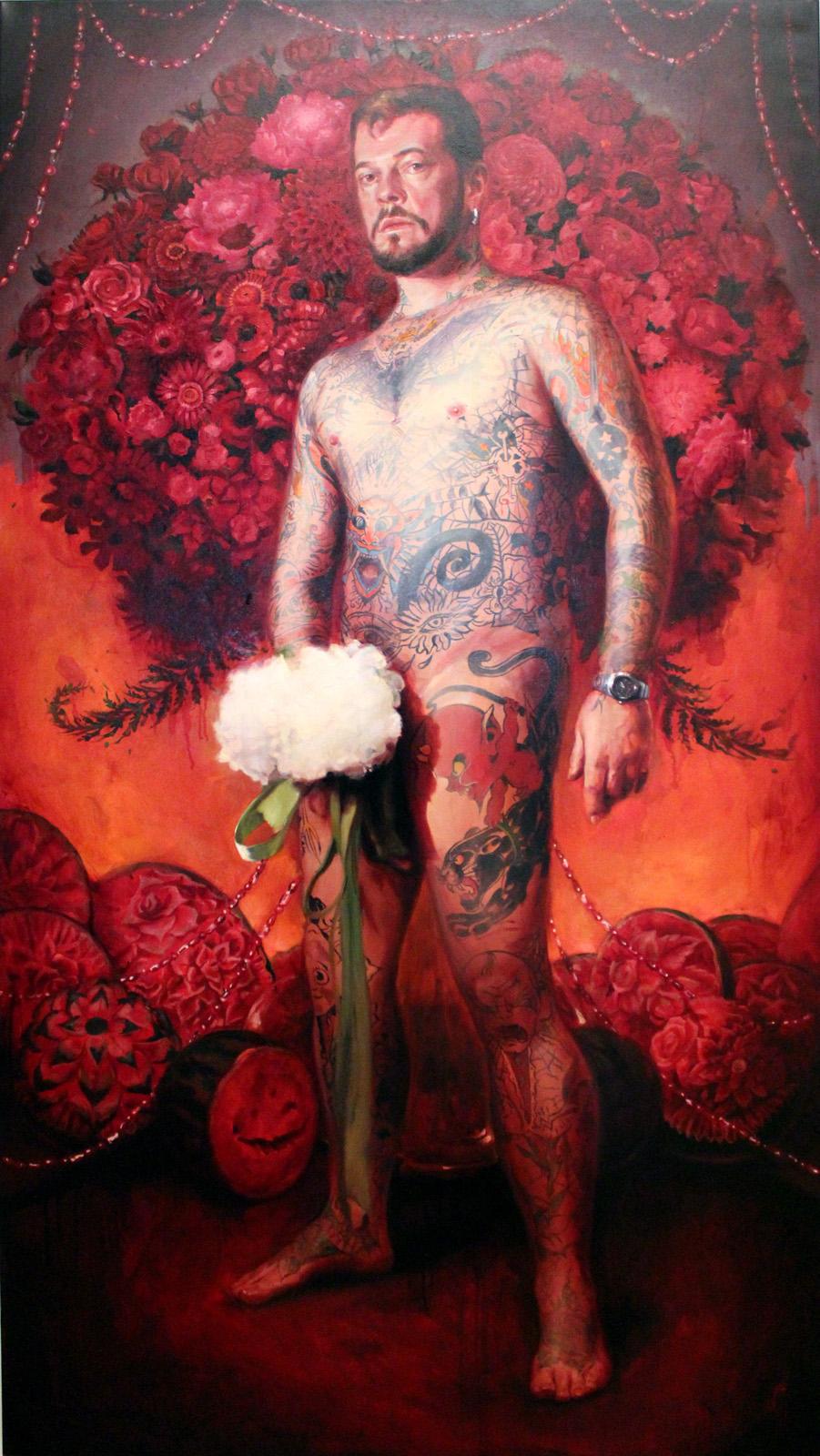 "'Portrait of the Artist, Thomas Woodruff', oil on canvas, 72"" x 40"", 2010"