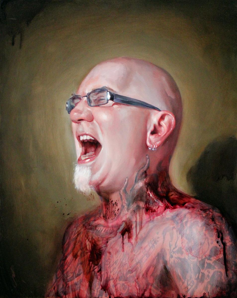 "'Portrait of the Artist, Bob Tyrrell, The Scream', oil on panel, 20"" x 16"", 2010, Collection of John Brusger"