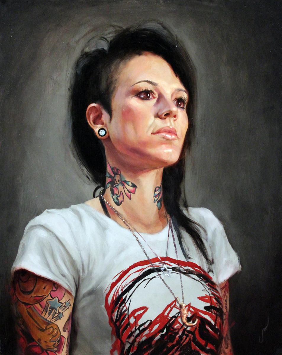 "'Portrait of the Artist, Camila Rocha, Head Study', oil on panel, 20"" x 16"", 2010"