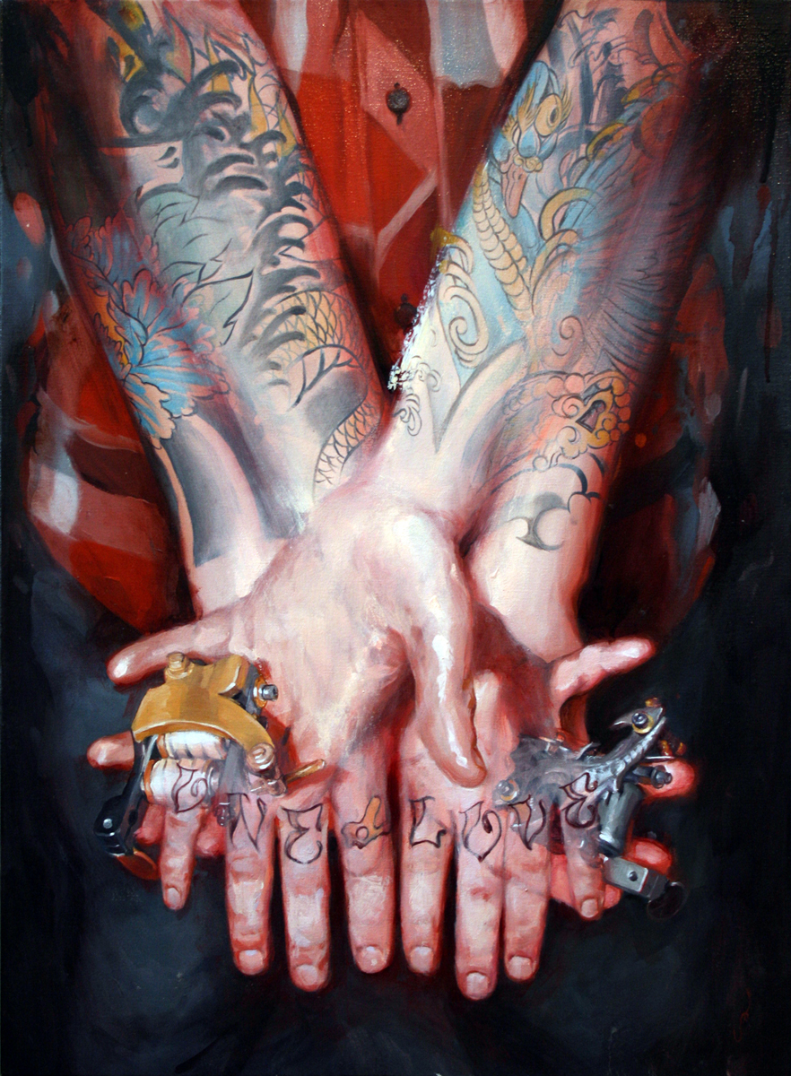 "'Portrait of the Artist, Beppe Shiro, Hands Study', oil on canvas, 32"" x 22"", 2010, Collection of Beppe Shiro"
