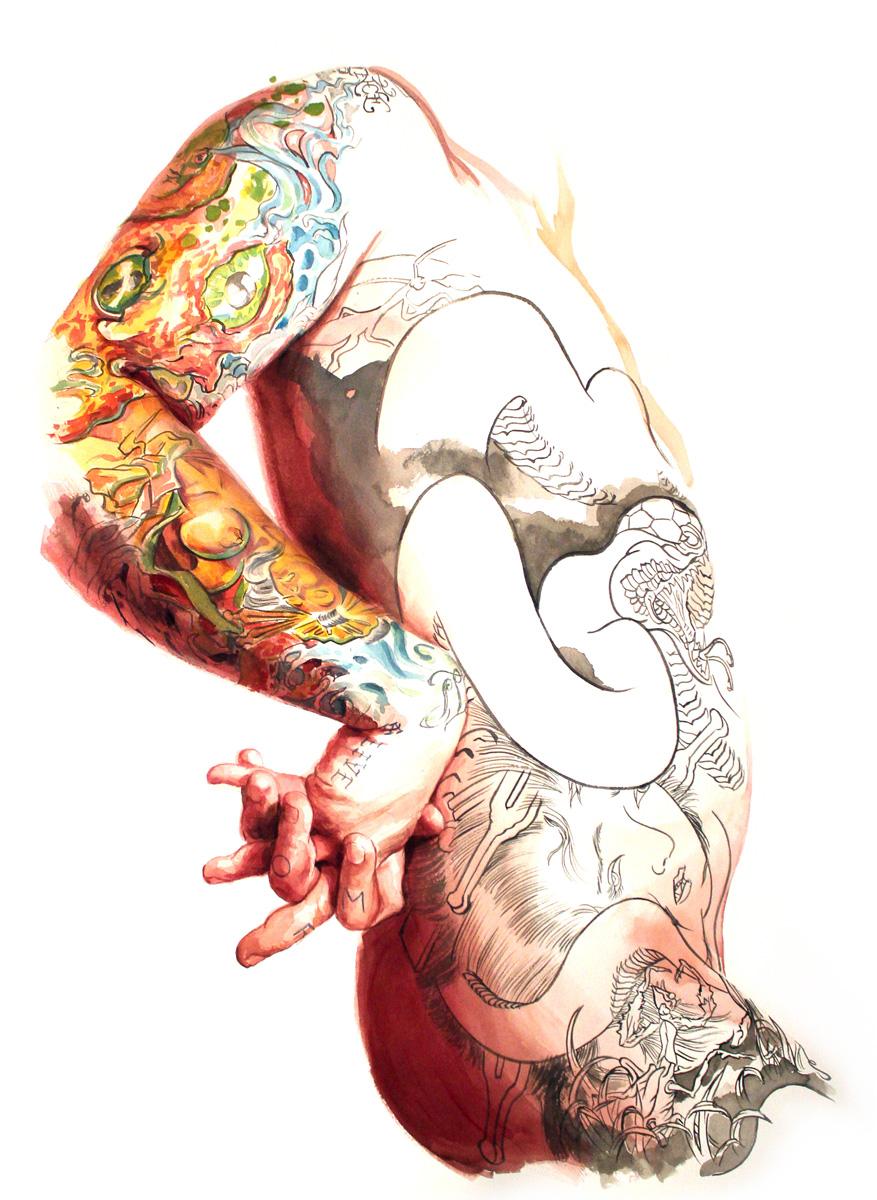 "'Tattooed Self Portrait, Torso Study 1', watercolor and gouache on 300lb. paper, 30"" x 22"", 2010"