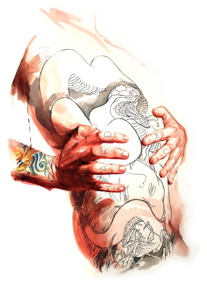 "'Tattooed Self Portrait, Torso Study 2', watercolor and gouache on 300lb. paper, 30"" x 22"", 2010"