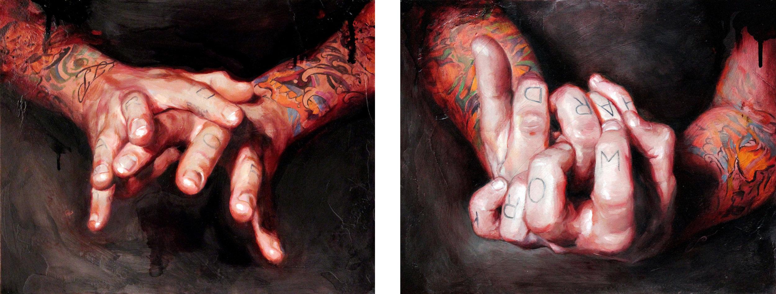"'Self Portrait, Hand Series 1', oil on panel, 11"" x 14"", Collection of Carl Niendorff / 'Self Portrait, Hand Series 4', oil on panel, 11"" x 14"", Collection of David Benitez / 2010"
