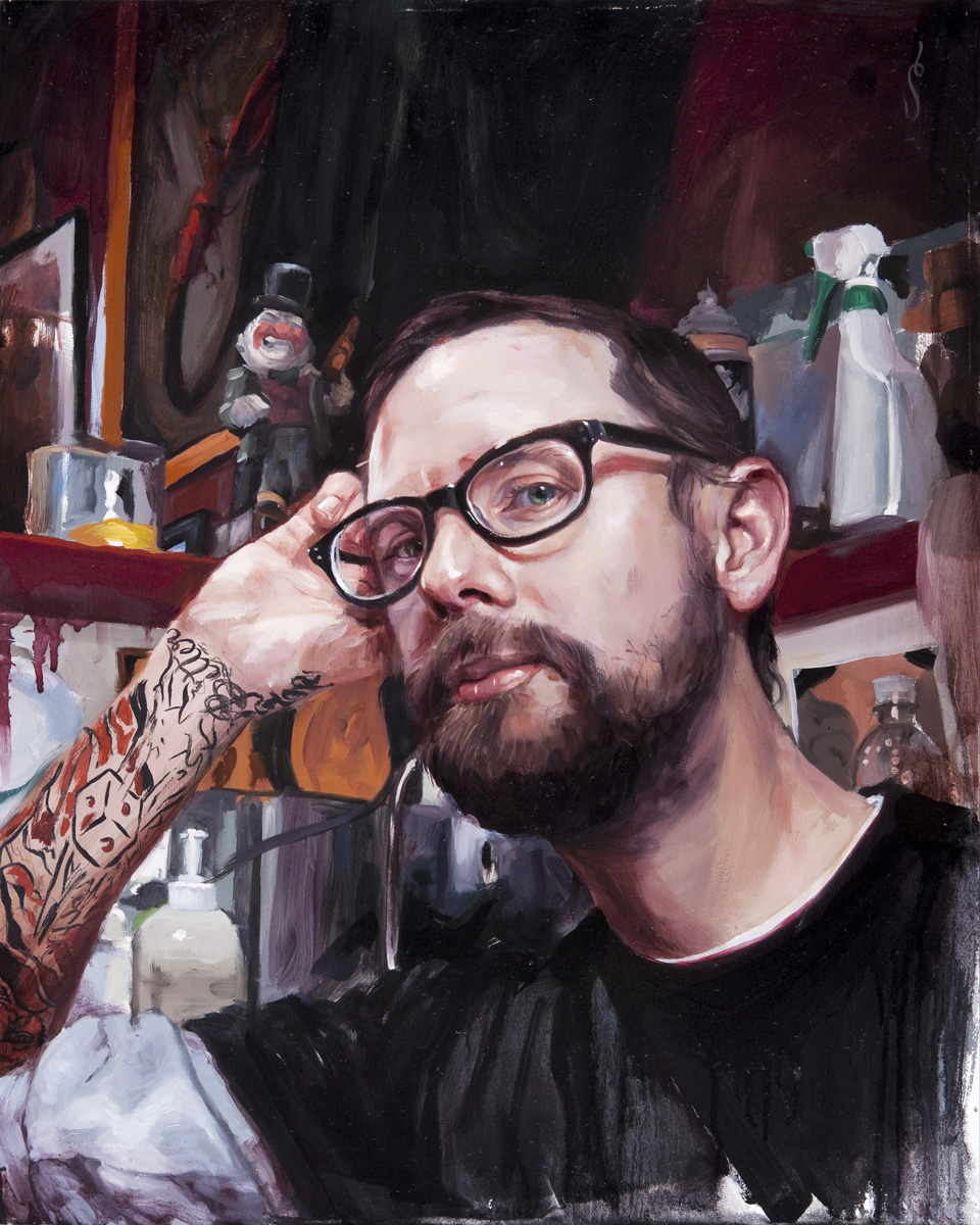 "'Portrait of the Artist, Jeff Rassier, Head Study', oil on panel, 20"" x 16"", 2009, Collection of Jeff Rassier"