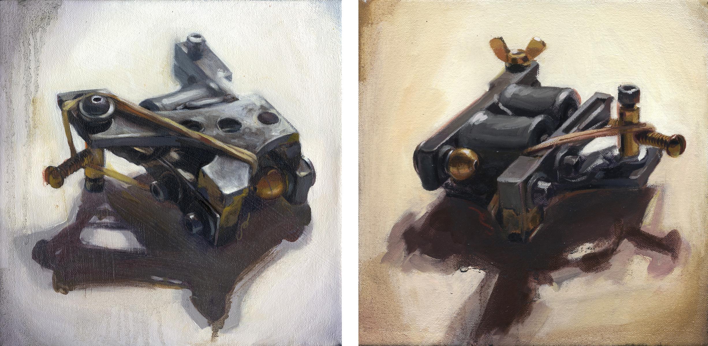 """'My First Machine, Schrobritter Liner (Top View)' / 'My First MachineSchrobritter Liner (Coil Side)' /  Both oil on canvas, 10"""" x 10"""", 2005, Collection of Jason Schroder"""