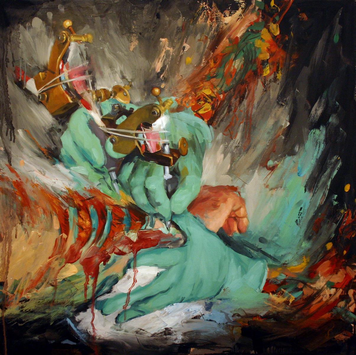 "'The Process (Yutaro Sakai at Work)', oil on panel, 24"" x 24"", 2005, Collection of Jonah Austin"