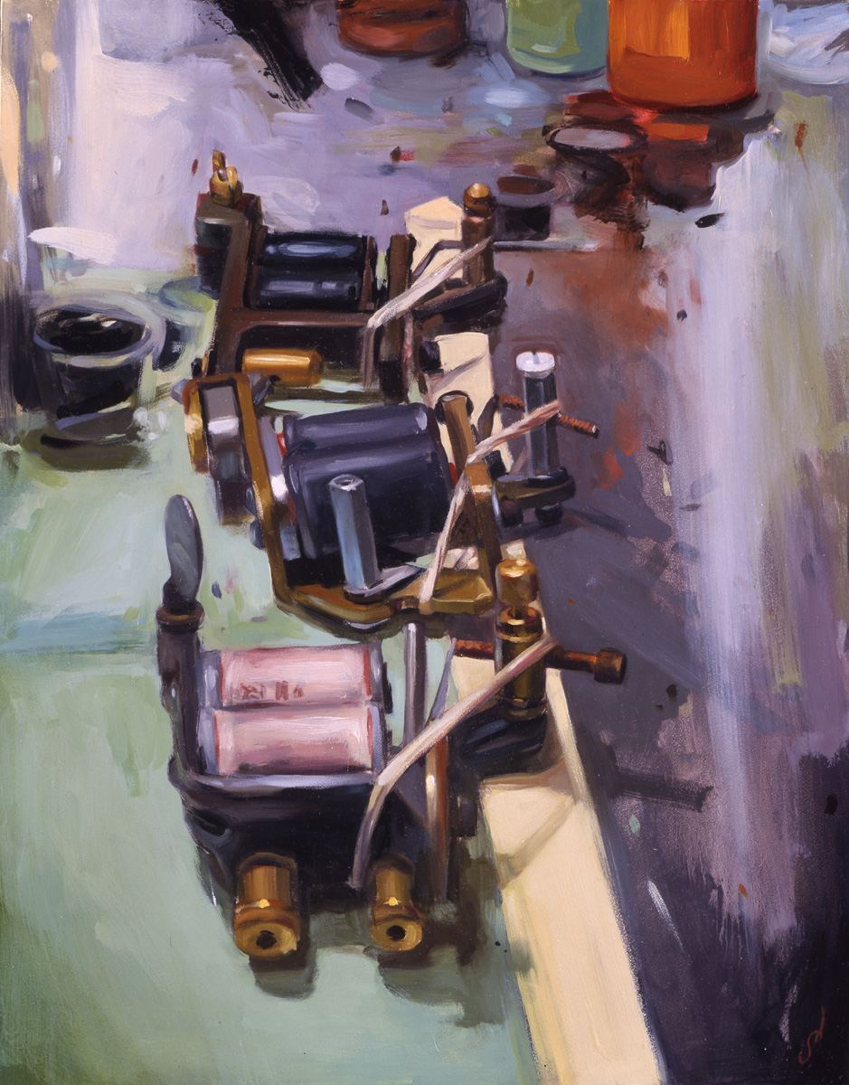 "'George Campise' Machines', oil on panel, 16"" x 12"", 2005, Collection of Edu Cerro"