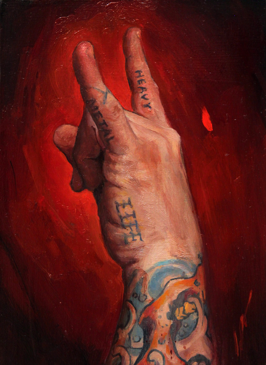 "'Heavy Metal Life, Self Portrait Hand Study', oil on panel, 7"" x 5"", 2016, Collection of Gregory P. Rodriguez"