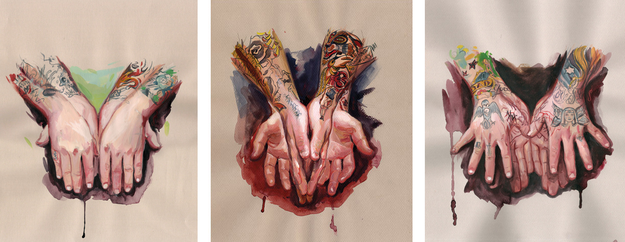 "'Elio España's Hands', Private Collection / 'Steve Boltz' Hands', Private Collection / 'Eli Quinters' Hands', Private Collection // All goauche, watercolor on toned paper, 12"" x 9"", 2007"