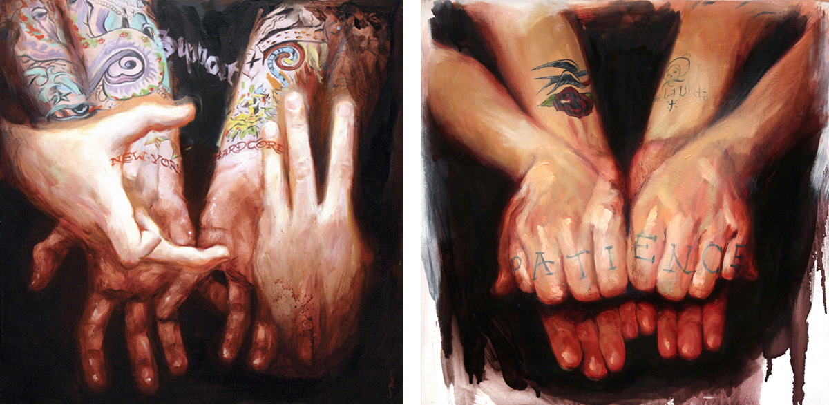 "'Civ's Hands', oil on wood, 16"" x 16"", 2007, Collection of Anthony Civarelli / 'Regino Gonzales' Hands', oil on wood, 16"" x 16"", 2007, Personal Collection"
