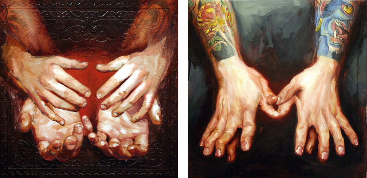 "'Scott Campbell's Hands', oil on wood, 16"" x 16"", 2007, Collection of Henry Lewis / 'Mike Rubendall's Hands', oil on wood, 16"" x 16"", 2007, Collection of Mike Rubendall"