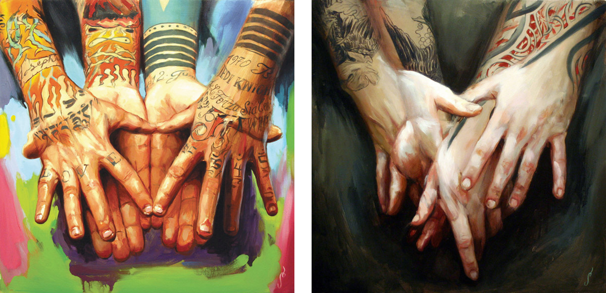 "'JK5's Hands', oil on wood, 16"" x 16"", 2007, Private Collection / 'Joshua Lord's Hands', oil on wood, 16"" x 16"", 2007, Collection of Joshua Lord"
