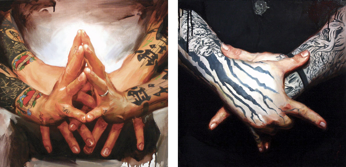"'Patrick Conlon's Hands', oil on wood, 16"" x 16"", 2007, Private Collection / 'Paul Booth's Hands', oil on wood, 16"" x 16"", 2007, Collection of Don Bouchard"