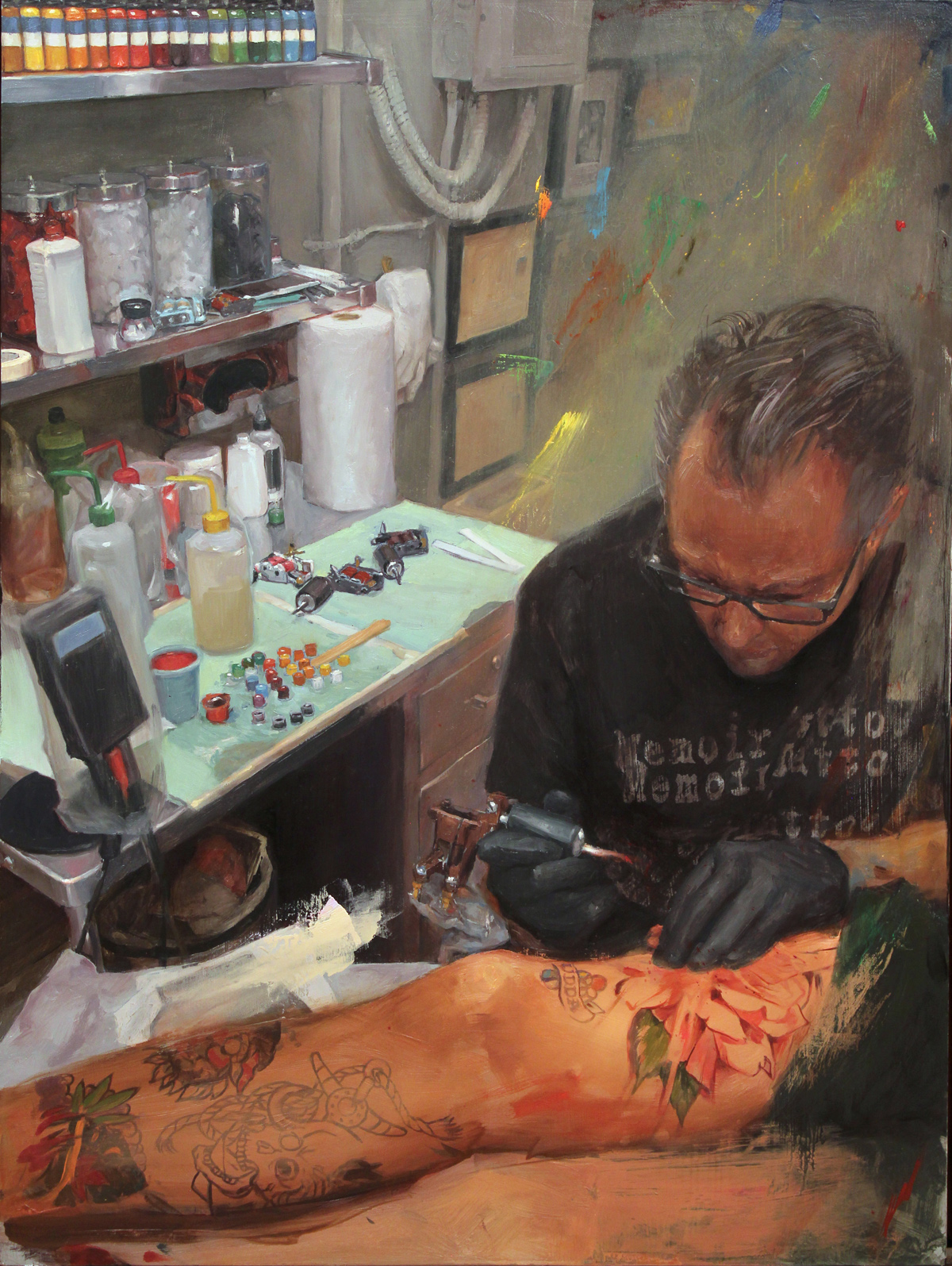 "'Self Portrait at Work', oil on panel, 24"" x 18"", 2017, Collection of Deran Hall"