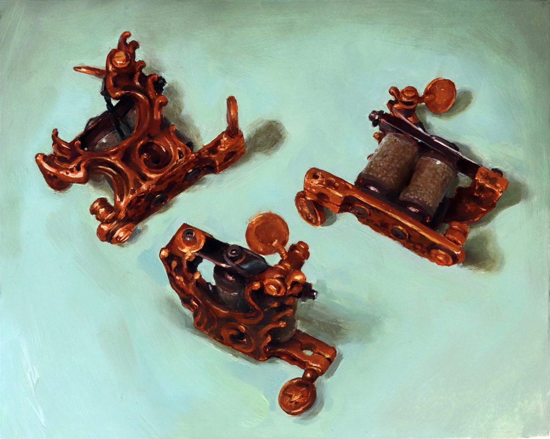 "'Sailor Kea/Tin-Tin tattoo Machine, 3 Views', oil on panel, 8"" x 10"", 2019, Collection of Bruno Kea"