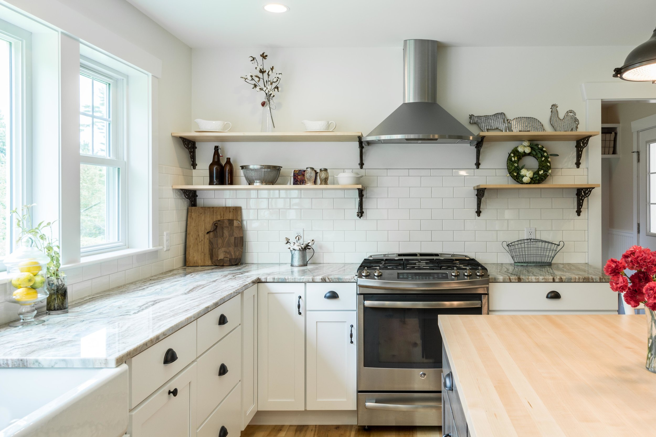 Granite Ridge Farmhouse, Windham, Maine, Kitchen Open Shelving