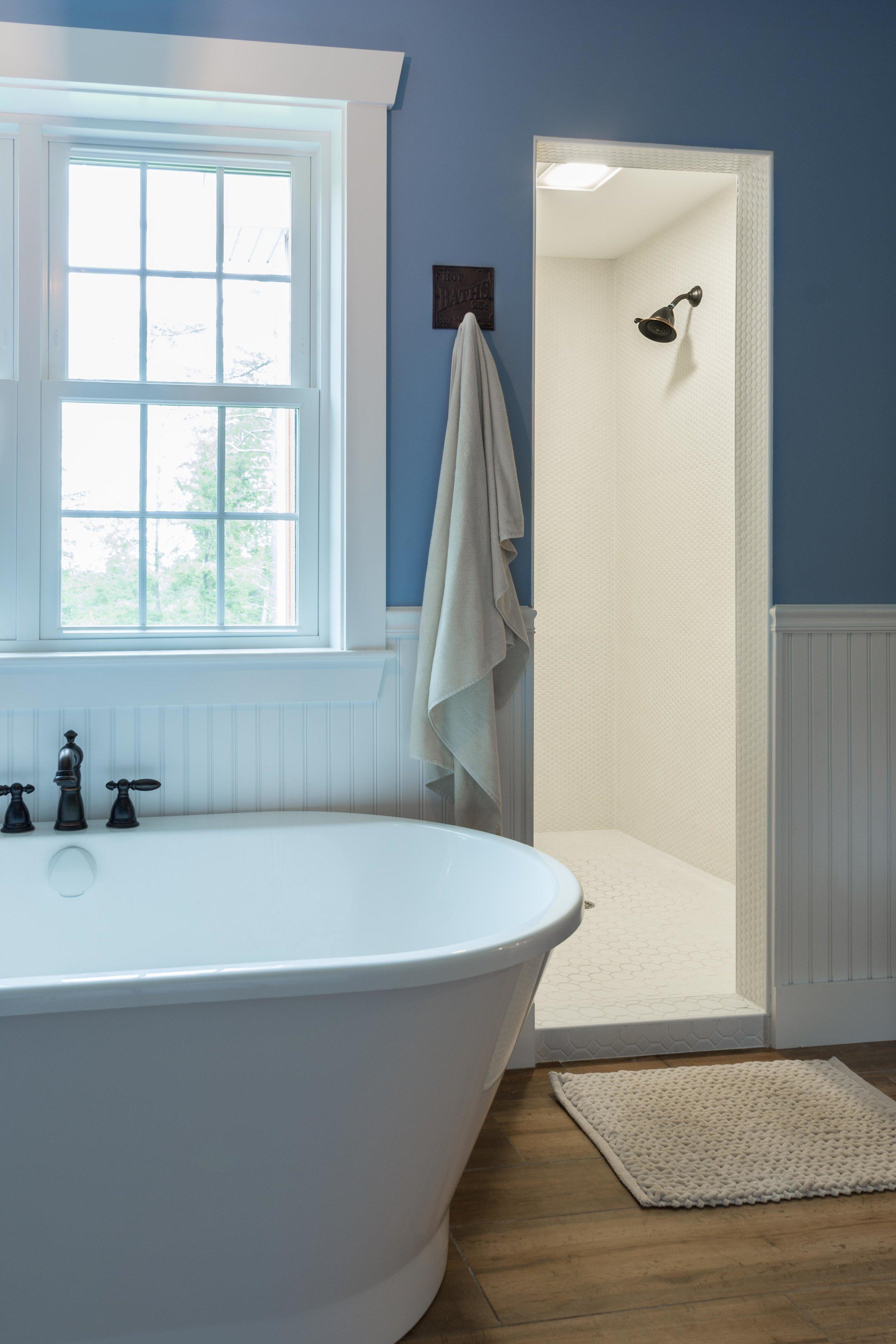 Granite Ridge Farmhouse, Windham, Maine, Tile Shower