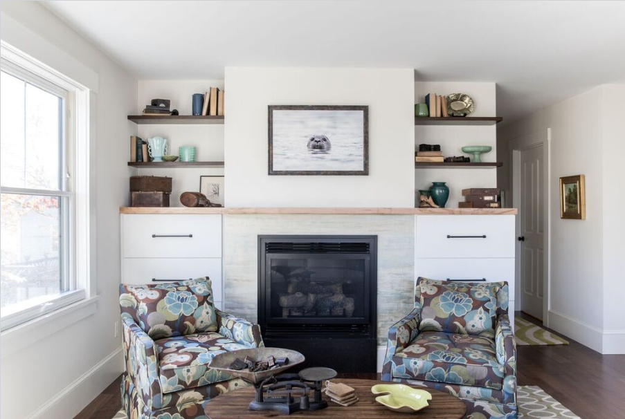 Custom Shelving, Storage and Mantel in Portland, Maine