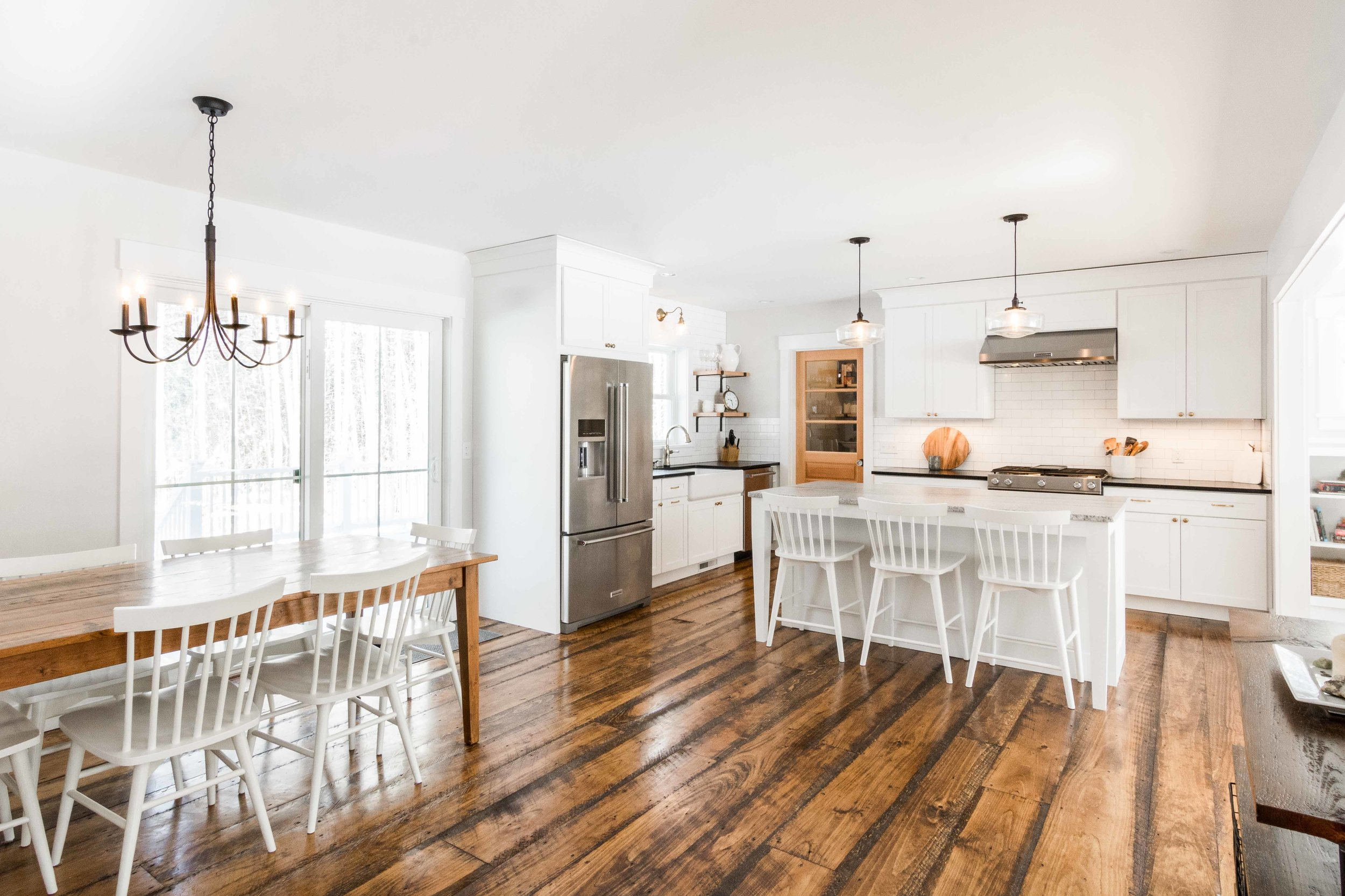 Pleasant River Farmhouse, Windham, Maine, Kitchen and Dining Space