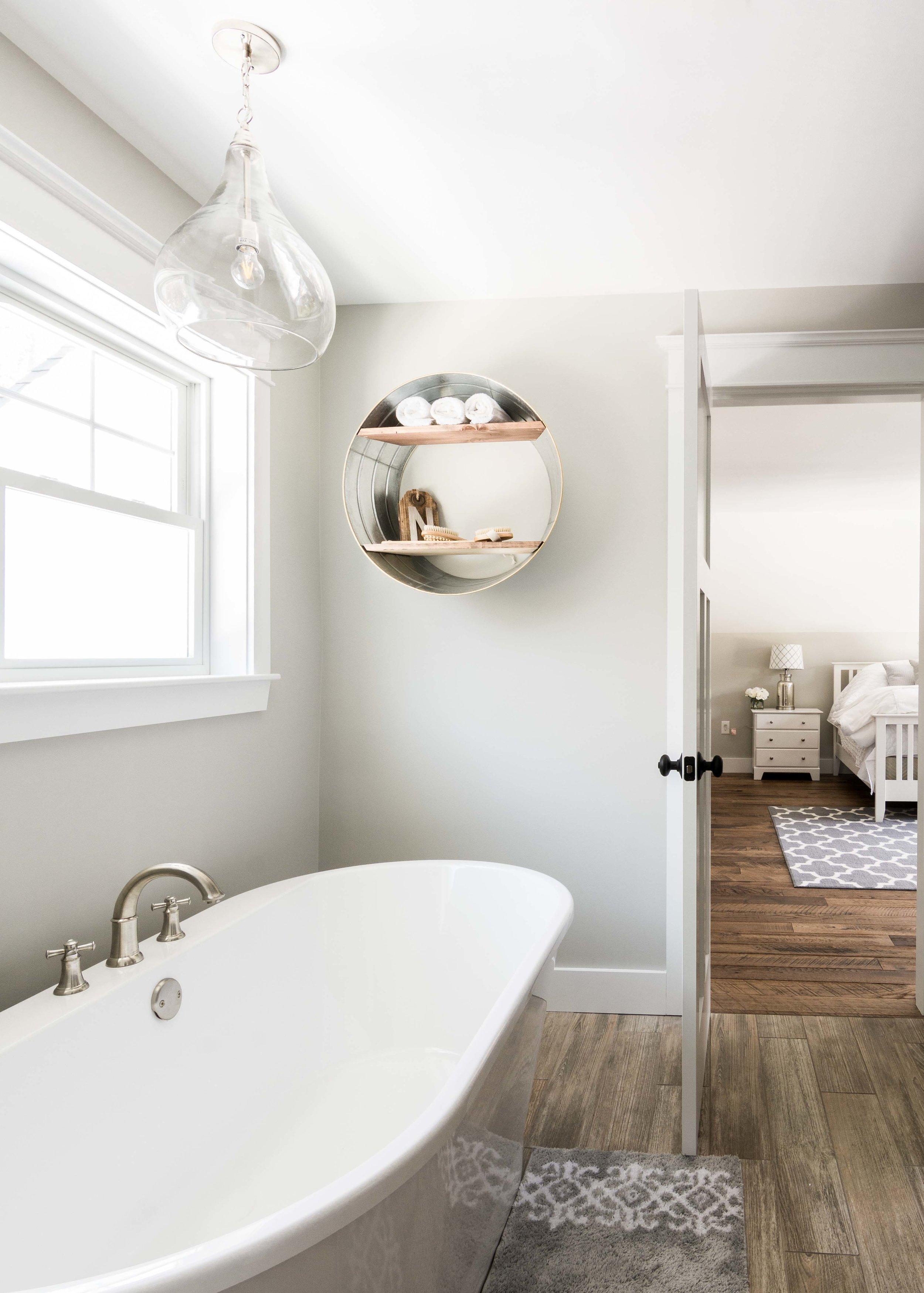 Birchwood Farmhouse, Gorham, Maine, Master Bathroom with Soaker Tub