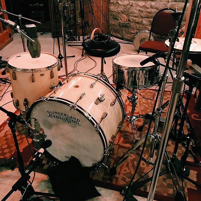 "Glad to be back at @soundemporiumstudios. Here's our 1946 Radio King kit (13""(not pictured), 16"" and 24"") for @oldseabrigade recorded by @obolewis. This and more available to rent at www.doriovintagedrums.com.  #radioking #soundemporium"