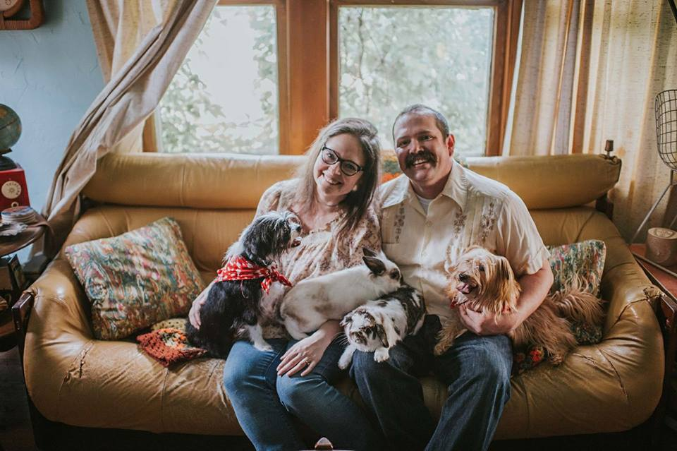 Drew and his lovely wife Lana and their bun buns and pups.