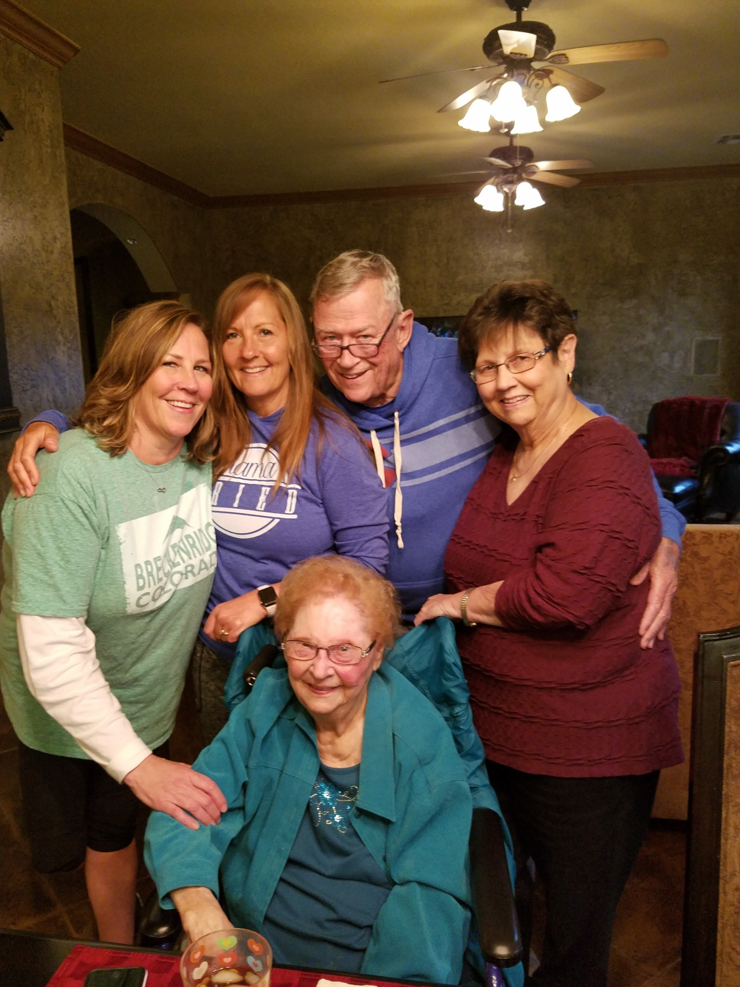Lois and her family, from left to right; granddaughter Jennifer Forrester, granddaughter Shelley Moore, Son-in-law Eldon Forrester and daughter Linda Forrester.