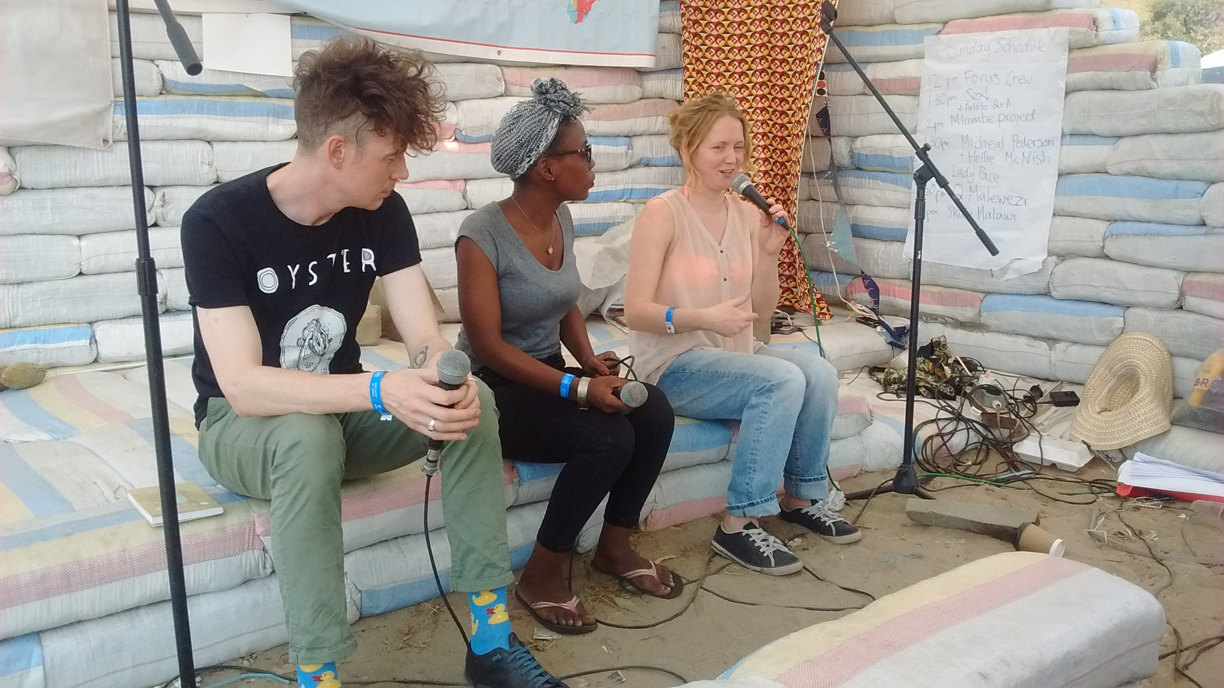 Scottish poets Michael Pedersen and Hollie McNish talked about their experience of creatively collaborating with Malawian artists.