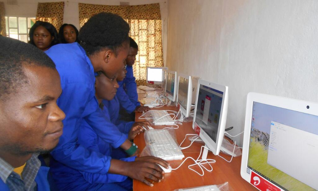 Computer classes at Chilobwe Technical College.