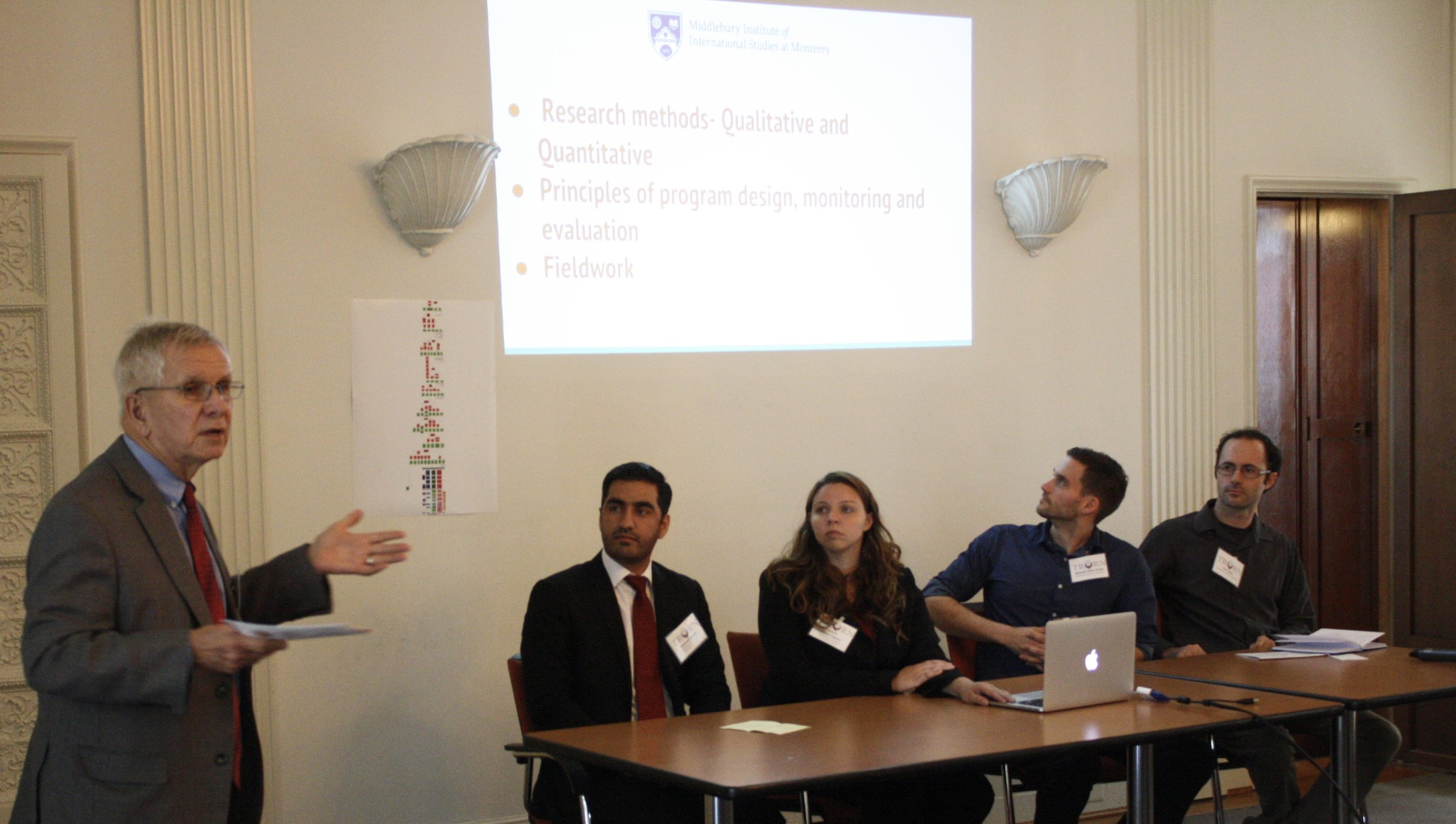 Dr. Edward Laurance, MIIS students, and members of the IRC present evaluation tools developed in their recent study on Afghan refugee food secure resettlement through the IRC in Sacramento.   Monitoring and Evaluation of Refugee Resettlement: A Study of Refugee Food Security and Health in Sacramento, CA
