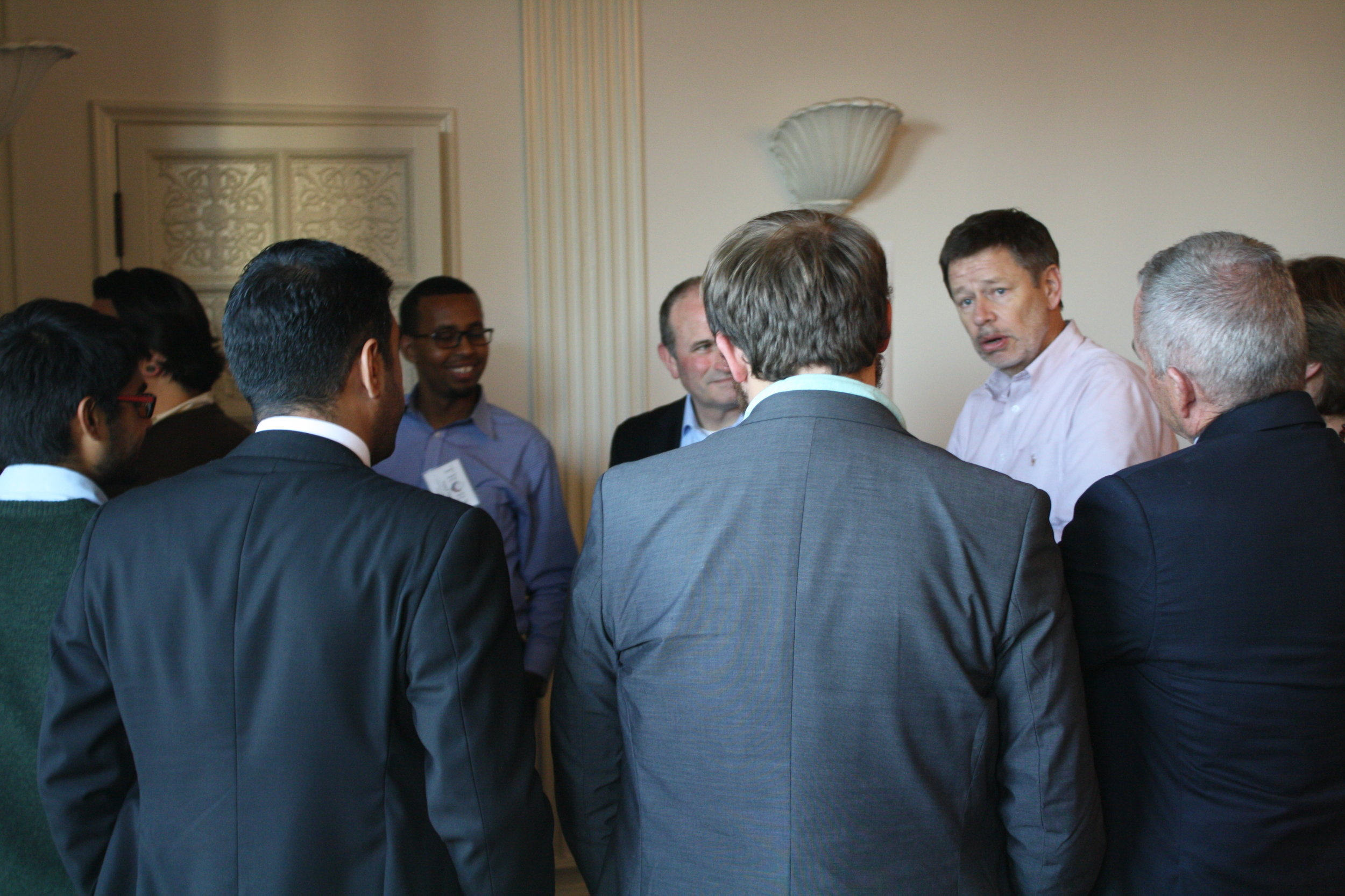 Discussing policy questions with Consul General Schlueter.